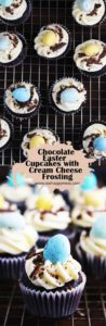 These bite-size chocolate Easter cupcakes with cream cheese frosting are adorable, festive and super tasty. #easter #easterdessert