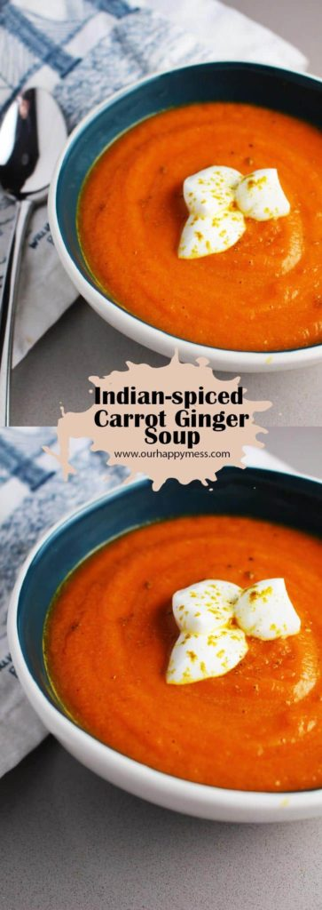 This vibrant, healthy Indian spiced carrot and ginger soup is perfect for spring, and you can whip it up in about 45 minutes!