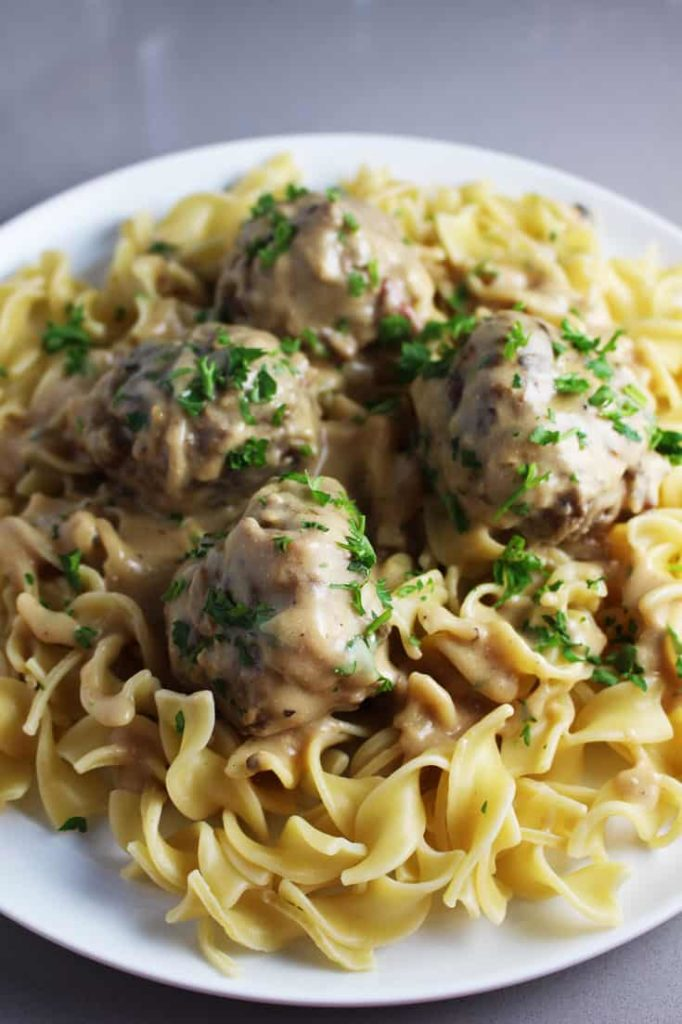 This Swedish meatballs recipe has a creamy sauce and great flavor. The perfect comfort food!