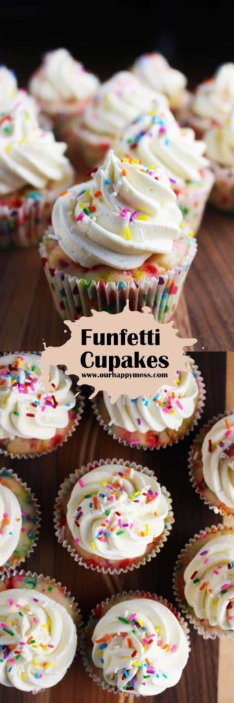 Collage of homemade funfetti cupcakes with vanilla frosting and sprinkles