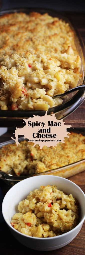 An easy, mildly spicy mac and cheese, with a great crunchy-buttery breadcrumb topping.