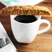 Fig and walnut biscotti with coffee
