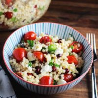 A serving of mediterranean Israeli couscous salad in a bowl