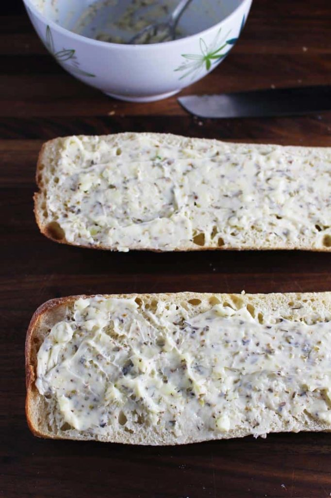 Garlic bread unbaked