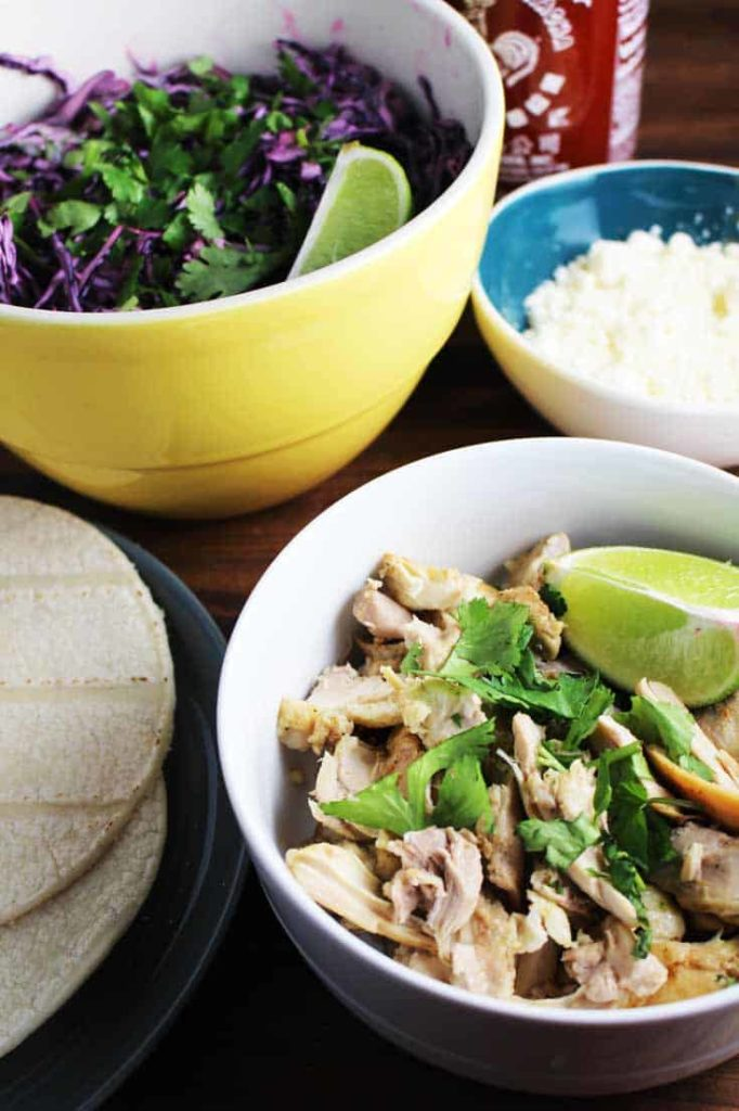 overhead view of easy chicken taco recipe on a plate