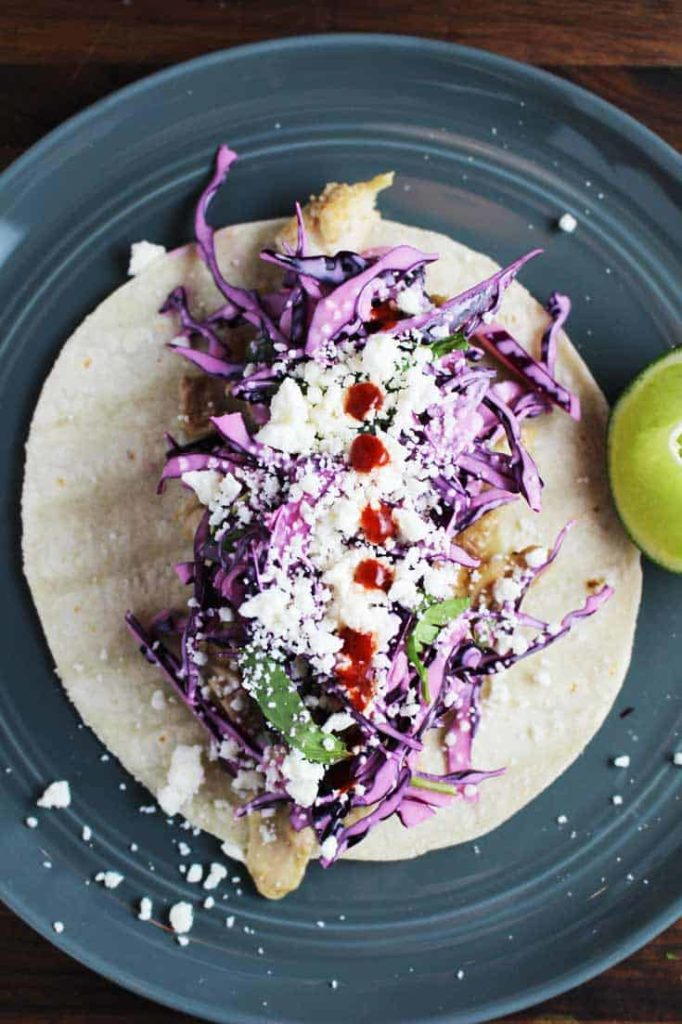 An open open easy chicken taco recipe on a plate