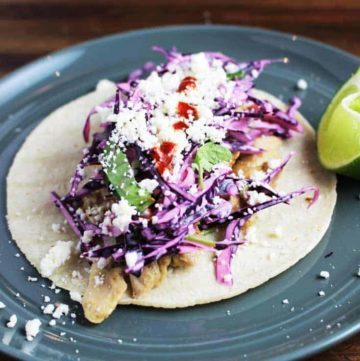 Easy chicken taco recipe on a plate