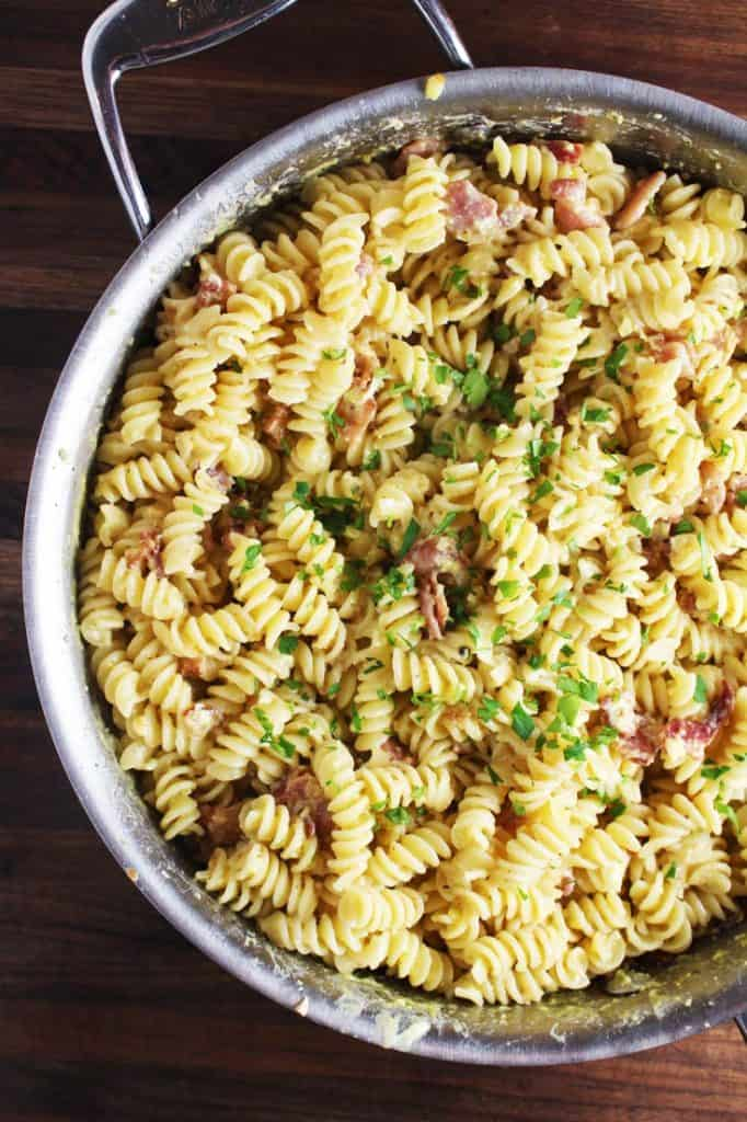Easy pasta carbonara recipe in a pan