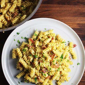 Easy Pasta Carbonara Recipe on a plate