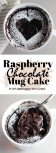 This chocolate raspberry mug cake takes about 5 minutes to make, start to finish. It is rich, dark, moist and perfect for satisfying a sudden chocolate craving.