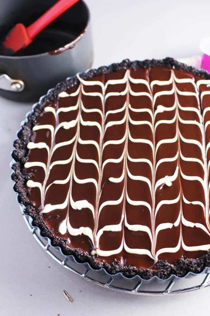 Chevron pattern on chocolate tart recipe
