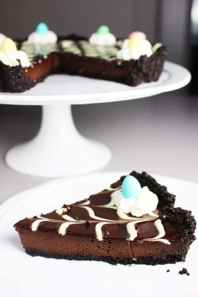 Slice of chocolate Easter tart recipe on a plate