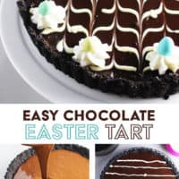 A chocolate tart decorated with a chevron pattern and mini chocolate eggs