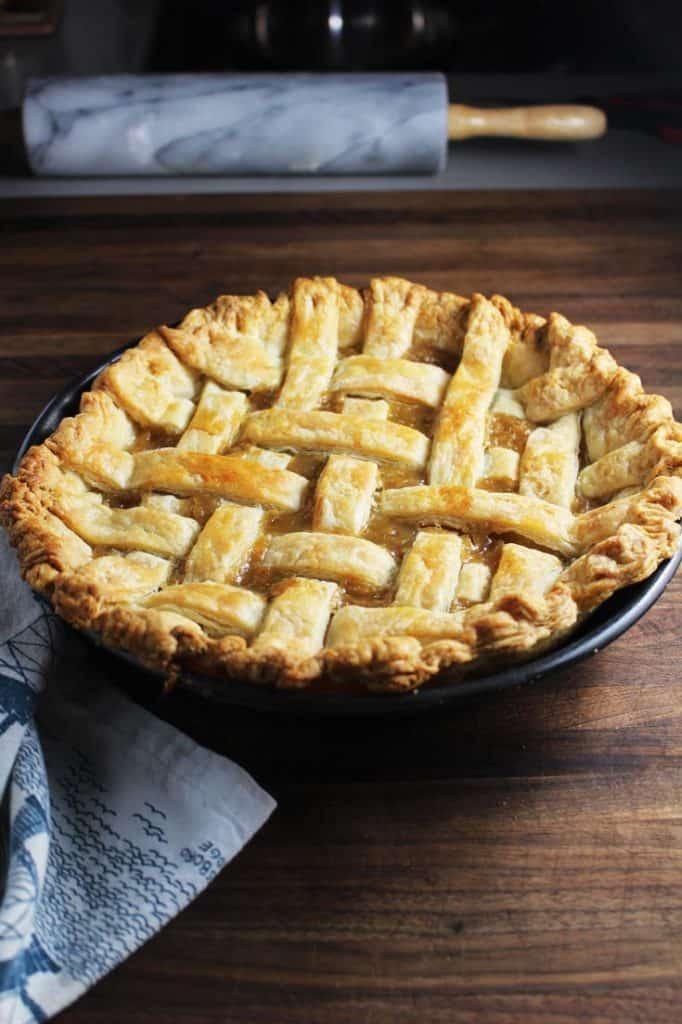 Quebec Sugar Pie with lattice crust, unsliced, in a pan
