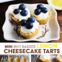 Mini lemon cheesecake tarts topped with blueberries on a plate