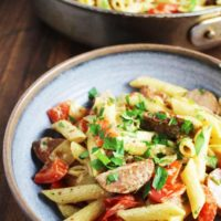 Sausage and vegetable pasta skillet served in a shallow bowl
