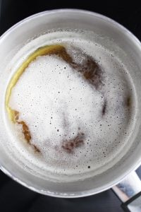 Brown butter in a light-colored saucepan