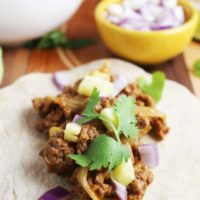 Al pastor style beef taco with toppings