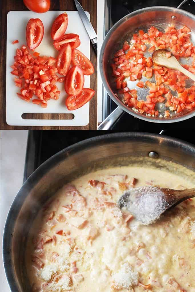 Collage of process shots to make tomato cream sauce