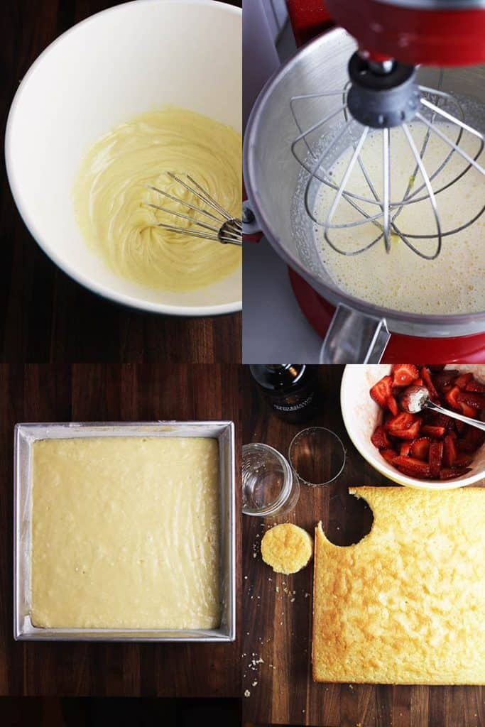 Collage of process shots for making easy strawberry shortcakes in a jar