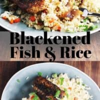 Cajun blackened fish recipe over rice, on a plate