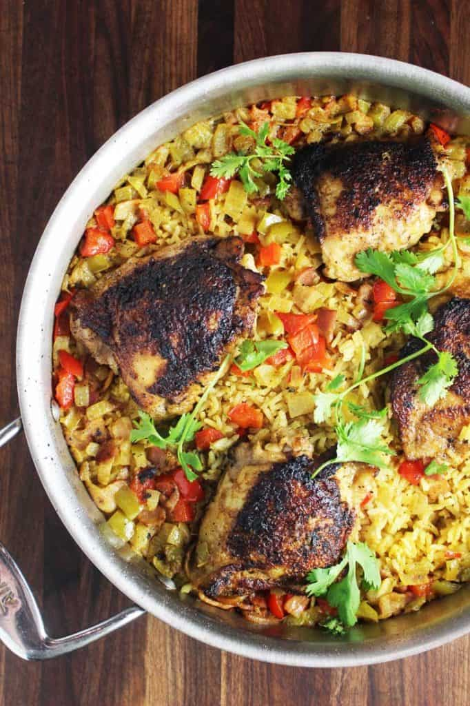 One pot Cuban chicken and rice recipe in a saute pan