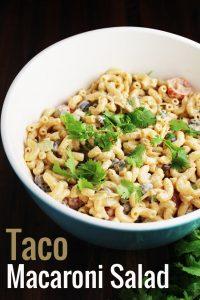 Taco macaroni salad recipe in a bowl
