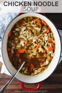 Homemade chicken noodle soup in a dutch oven