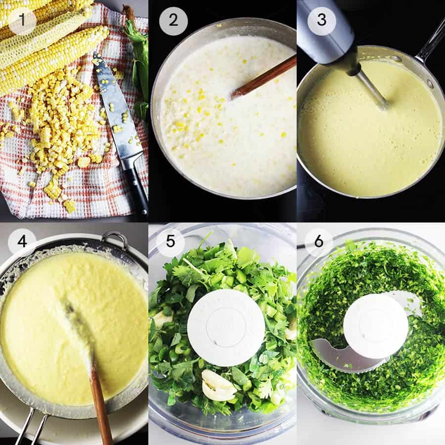 Process shots for making a creamy fresh corn soup recipe with chimichurri.