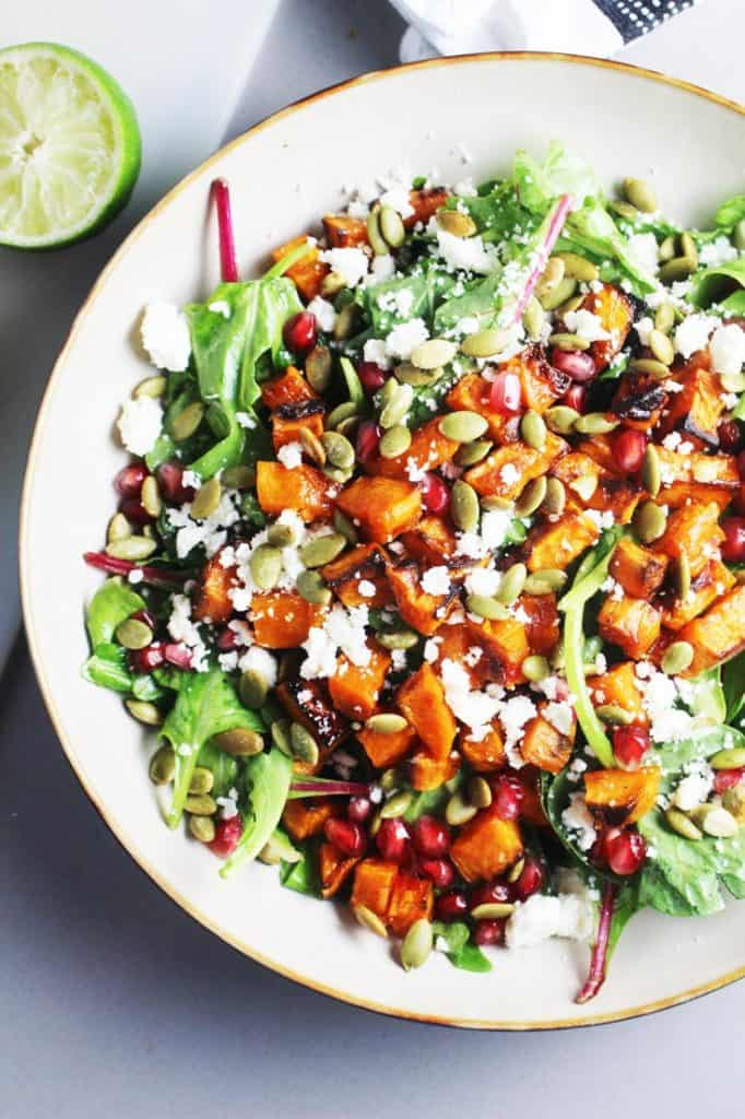 Roasted sweet potato and kale salad in a bowl