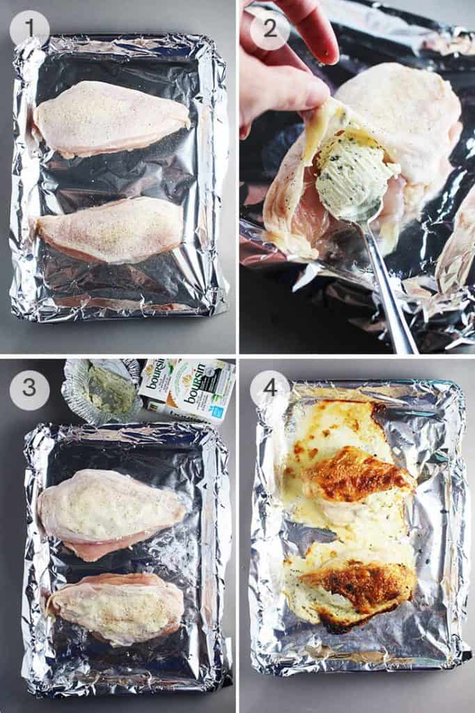 Four process shots for making roasted chicken breasts stuffed with Boursin