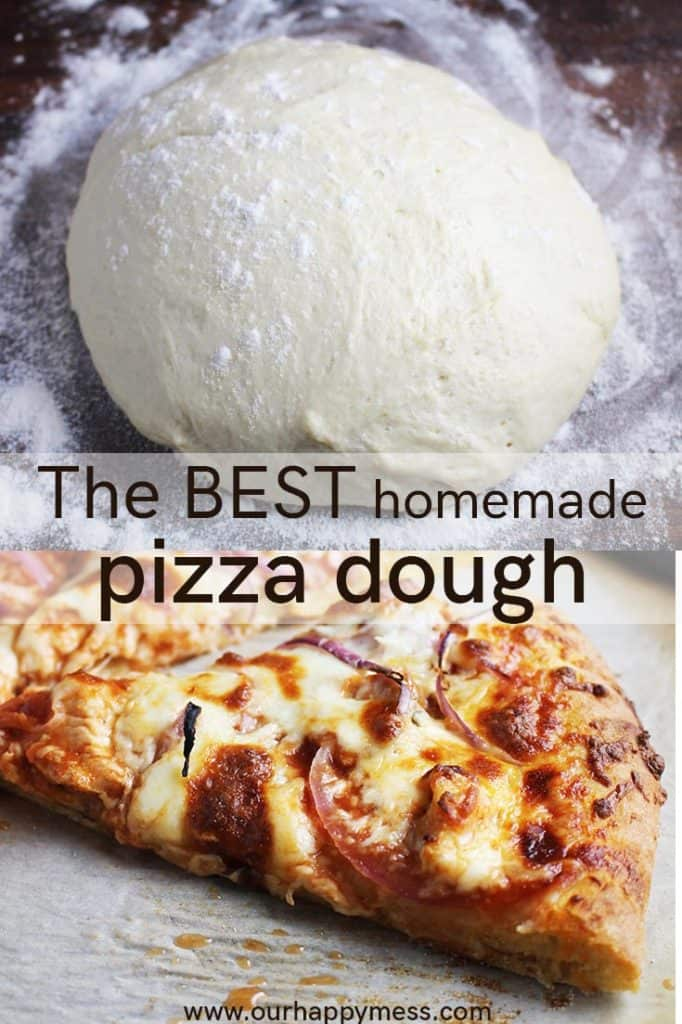 A ball of pizza dough on a floured wood counter and a slice of pizza