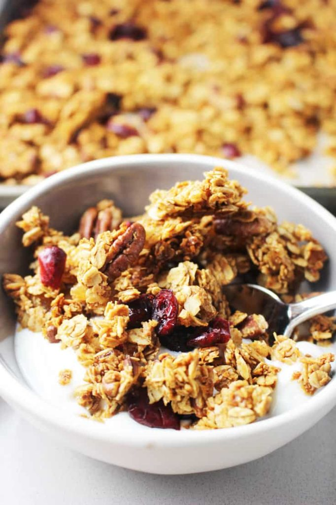 A bowl of gingerbread granola over vanilla yogurt