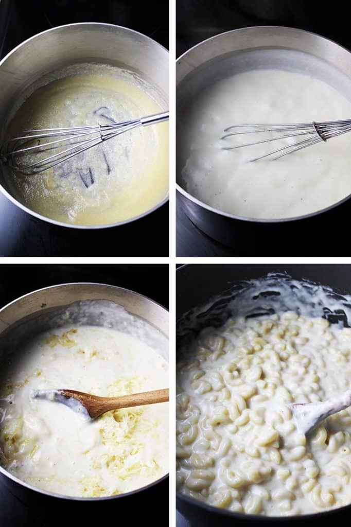 steps for making a cheese sauce for baked macaroni and cheese. Flour and butter roux in a saucepan, with milk added, with cheese added, and mixed with macaroni noodles