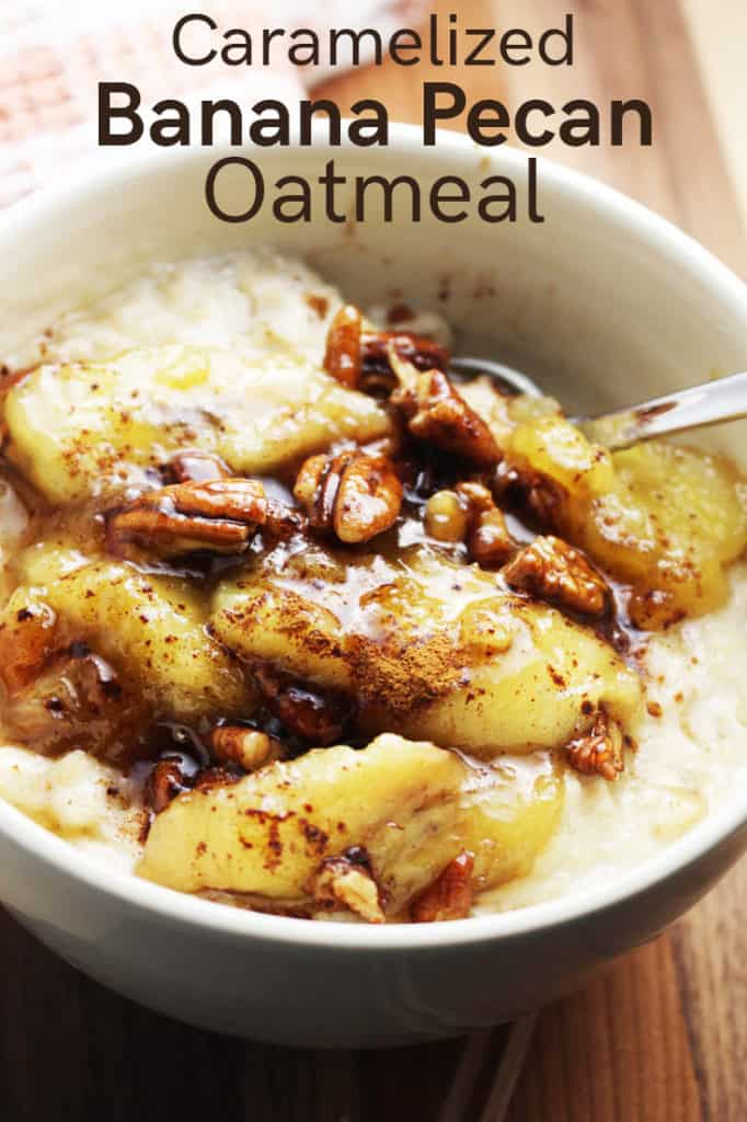 Closeup of a bowl of caramelized banana oatmeal