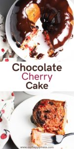chocolate cherry cake on a cake stand with a piece of cake on a plate