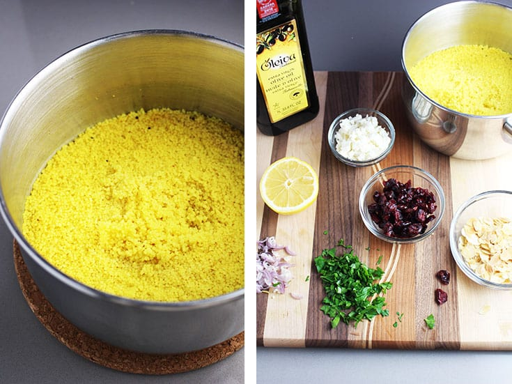 a pot of cooked curried couscous and ingredients for making curried couscous salad on a cutting board