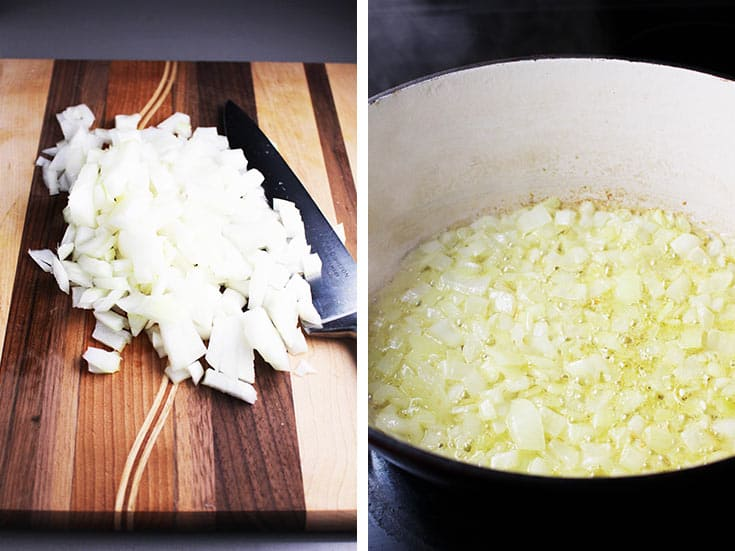 Chopped onions on a wooden cutting board and cooking in a dutch oven