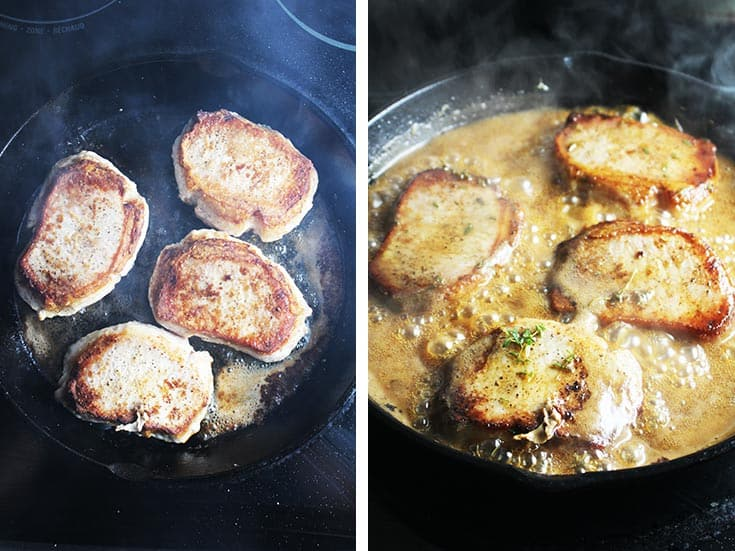 Pork chops searing in a cast iron skillet, and cooking in a maple soy glaze