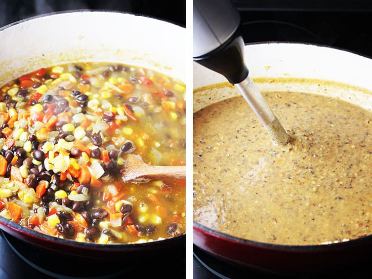 Black bean soup simmering in a dutch oven, and being pureed with an immersion blender