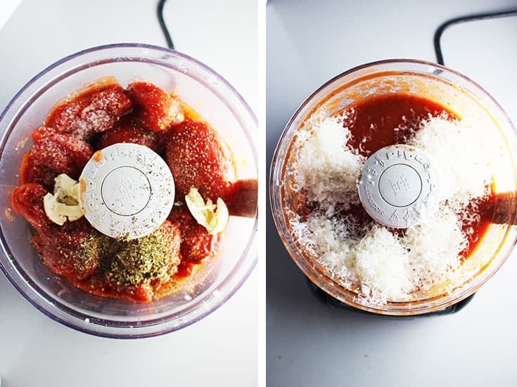 Ingredients for homemade pizza sauce in a food processor before processing and after processing with grated parmesan added.