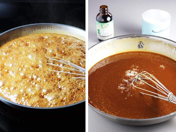 Homemade caramel cooking in a pan, and off the heat with fleur de sel being stirred in