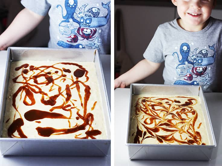 Caramel drizzled over unbaked banana cake batter, and swirled around with a knife