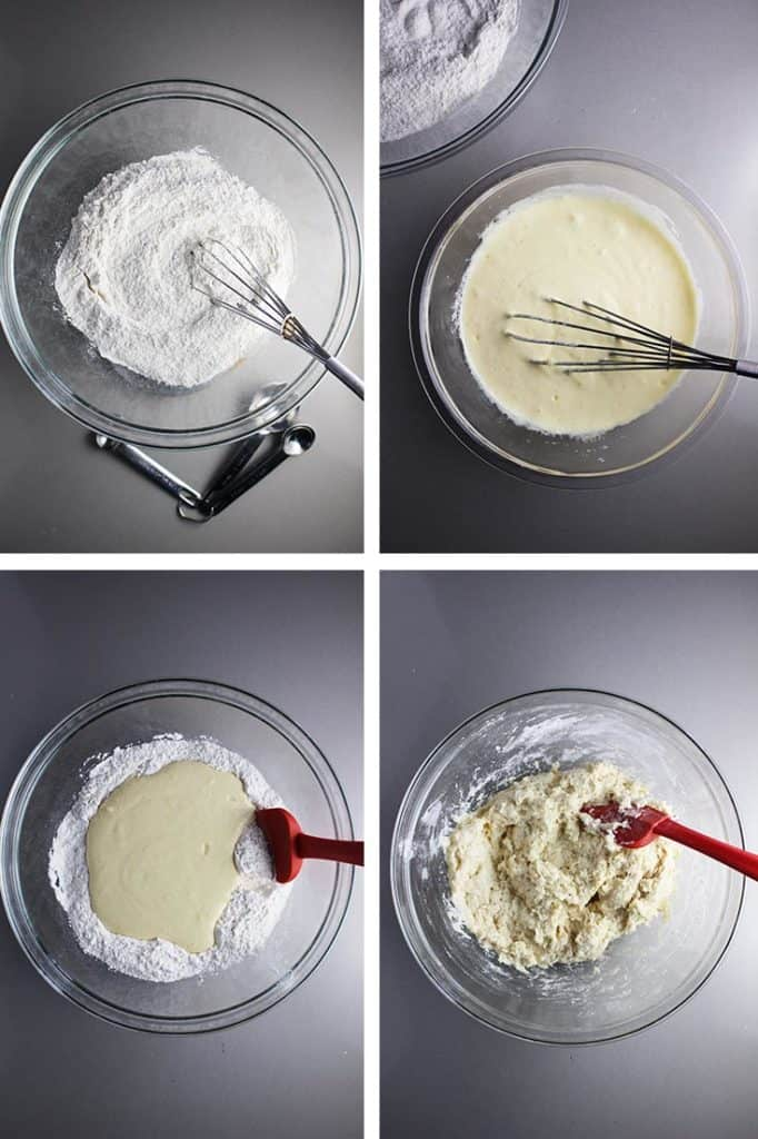 Steps for making batter for cherry muffins