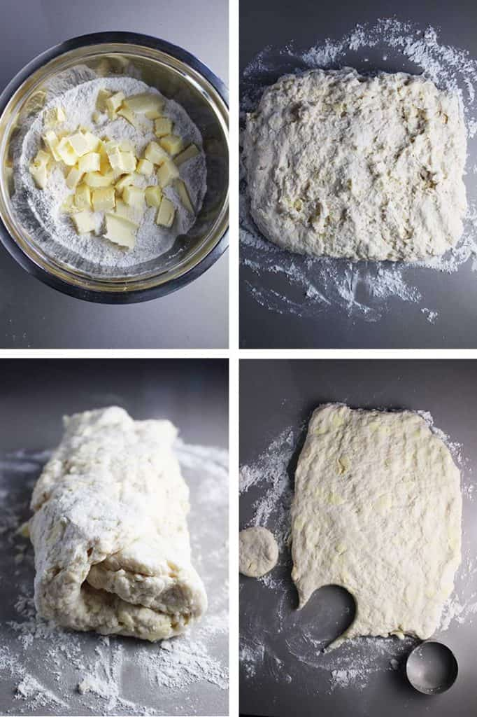 Process for making biscuits. Butter being cut into flour mixture. Dough being formed into a square and folded like a letter. Dough being cut with a round cutter.