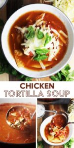 A bowl of chicken tortilla soup with steps for making it