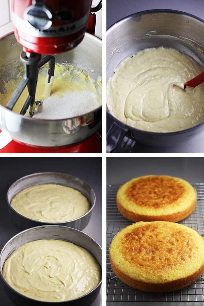Steps for making batter for orange cake, batter in two pans, and cakes baked and cooling on rack