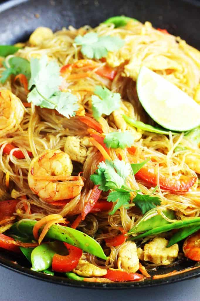 Close up view of Singapore noodles