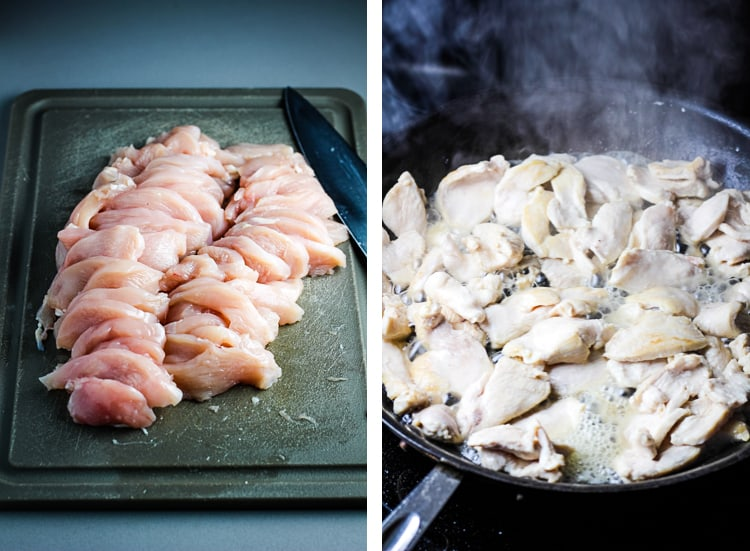 Raw chicken thinly sliced on a cutting board, and being stir fried in a skillet