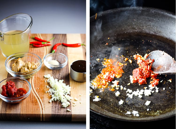 Ingredients for peanut sauce on a wooden cutting board, and garlic, chile paste and tomato paste being fried in a skillet